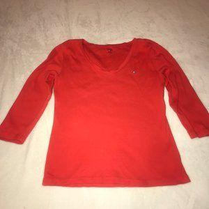 Tommy Hilfiger Red V-Veck Babydoll Fit T-Shirt Med